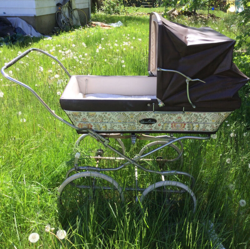 VINTAGE BROWN SILVER CROSS BABY CARRIAGE