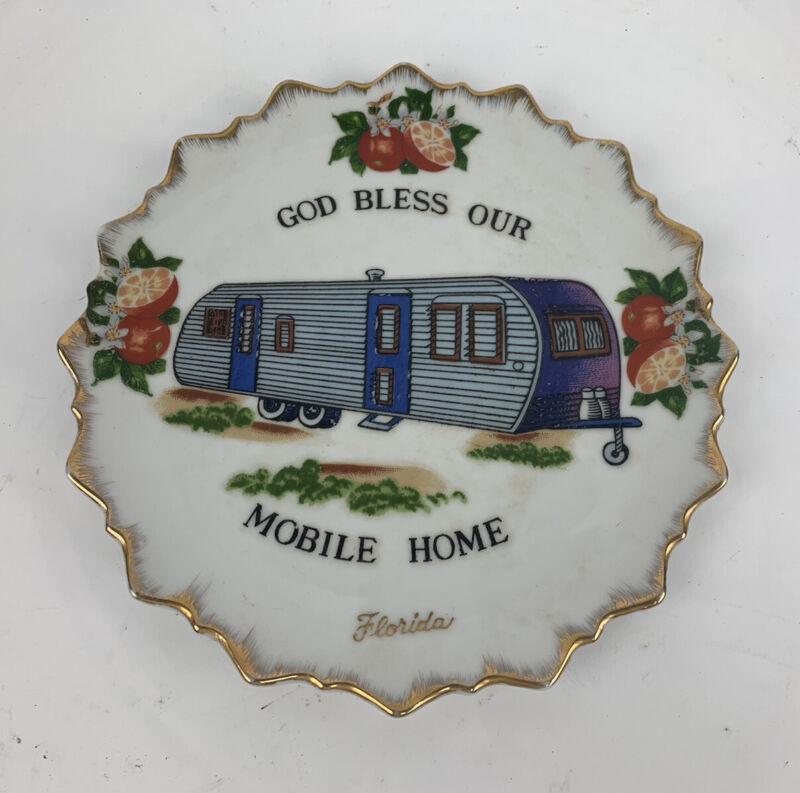 FLORIDA God Bless Our Mobile Home Vintage OLD Decorative Plate Camper RV Artmark