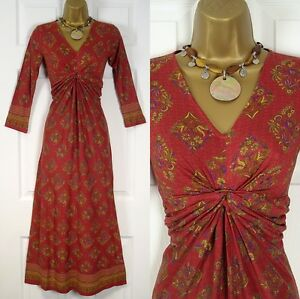 NEW-WALLIS-RUST-RED-GOLD-PURPLE-BROWN-PAISLEY-FLORAL-DRESS-UK-SIZE-8-TO-18