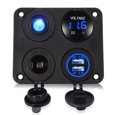 Used, Blue LED Dual USB Car Charger+Voltmeter+12V Power Socket+On-Off Switch Panel Kit for sale  China
