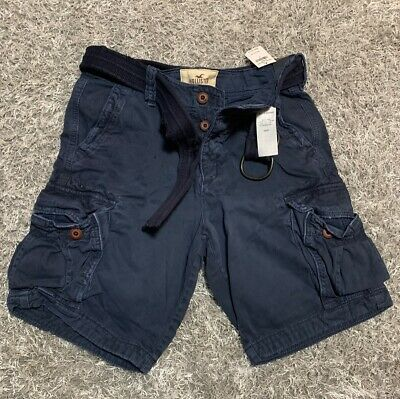 Hollister By Abercrombie Khaki Cargo Shorts with Belt Size 30 Navy