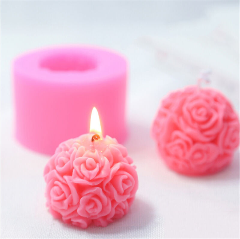 3D Rose Flowers Ball Silicone Soap Mold Candle Molds Mould For Candy Craft DIY