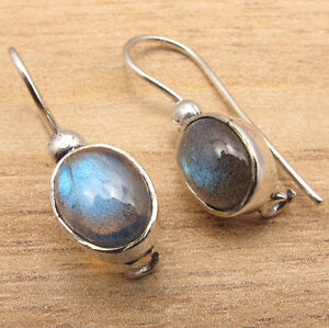 HANDMADE-JEWELRY-EARRINGS-Natural-Fire-LABRADORITE-Gems-925-Silver-Plated