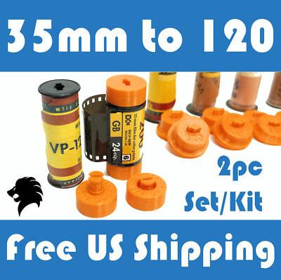 Format Camera Adapter - 35mm to 120 / 220 Medium Format Camera Film Spool Adapter Set / Kit (2pcs)