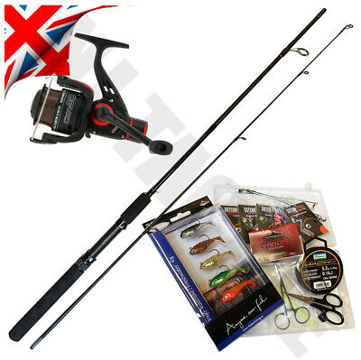 COMPLETE STARTER FISHING SET SPINNING ROD AND REEL KIT SPINNERS