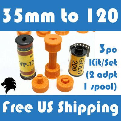 Format Camera Adapter - 35mm to 120 / 220 Medium Format Camera Film Spool Adapter Set / Kit (3pcs)