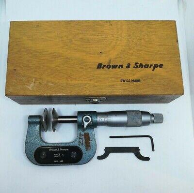 Vintage Brown Sharpe 223-1 0-1.001 Flange Disc Micrometer Machinist Tool