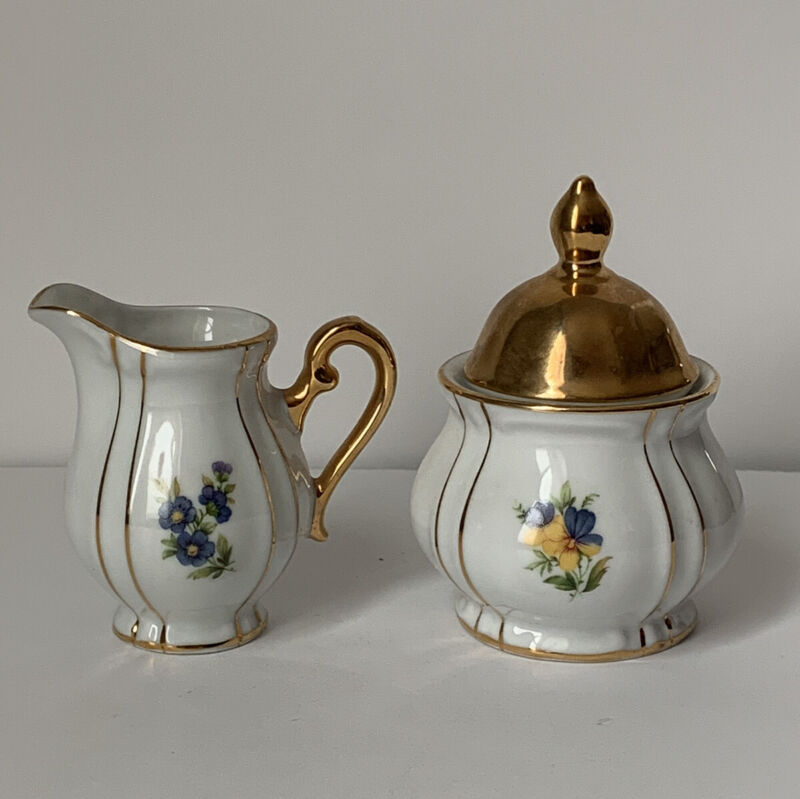 Vintage JKW West Germany Small Sugar Creamer Purple Yellow Floral With Gold Trim