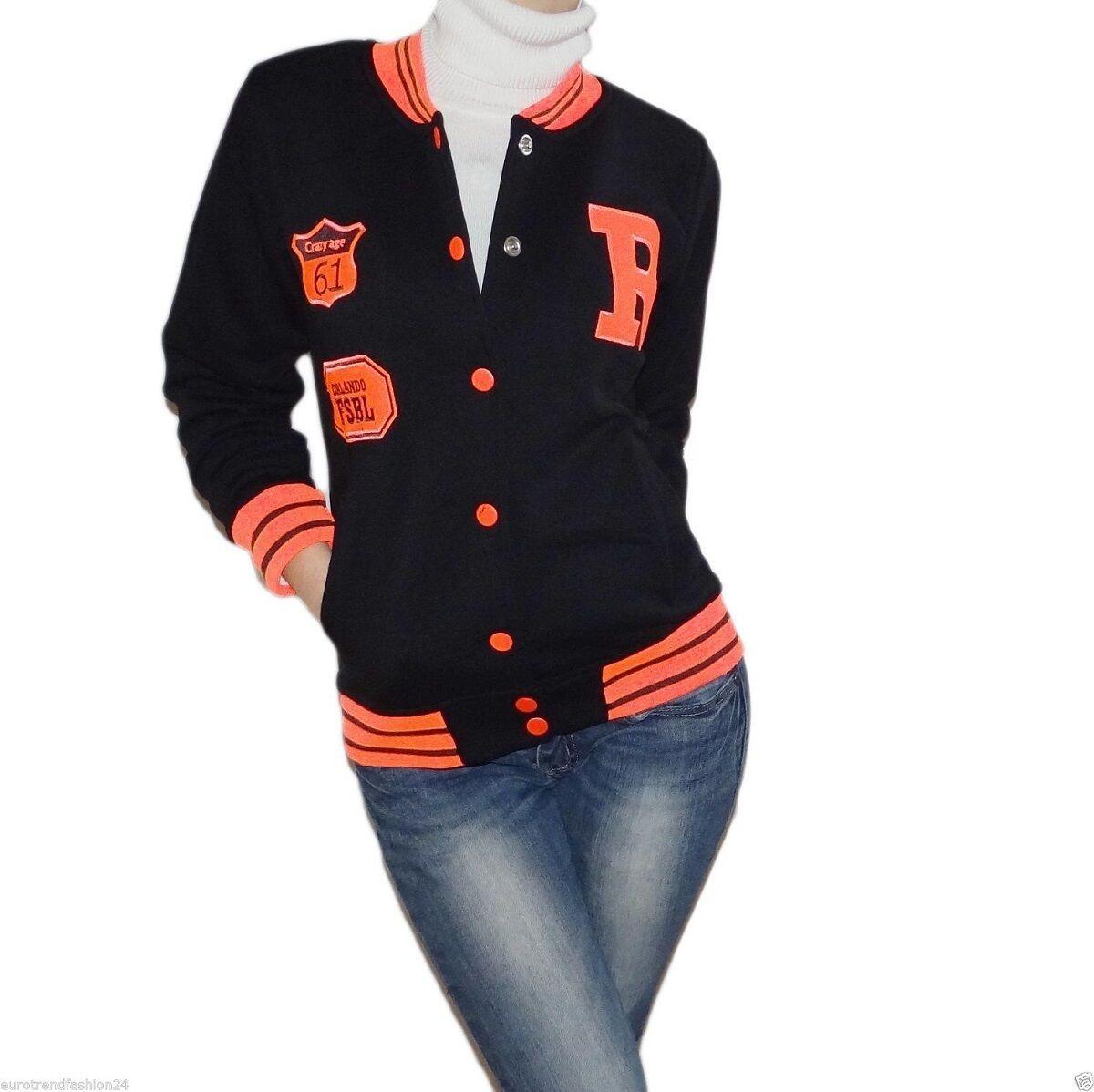 Damen Sweatjacke Sweatshirt Sport College Sport Pullover Fitness Jogging 34-40