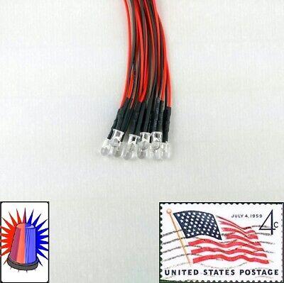 10x 5mm Red Blue Flashing Blinking Leds Pre Wired 3v-5v Police Light Usa