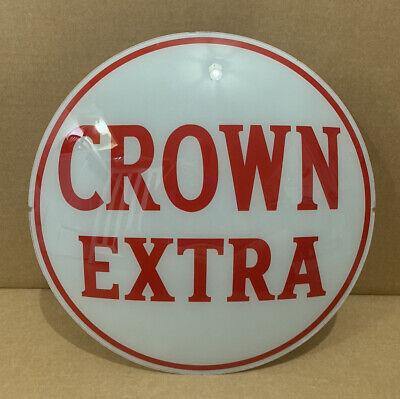 Vintage Crown Extra Gas Pump Globe Lens Glass Top Sign Garage Decor Oil Bar Pub