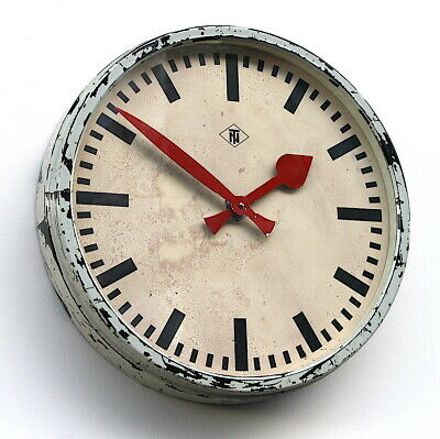 LARGE 45cm W GERMAN 1960s Vintage Retro Industrial Factory Office Wall Clock
