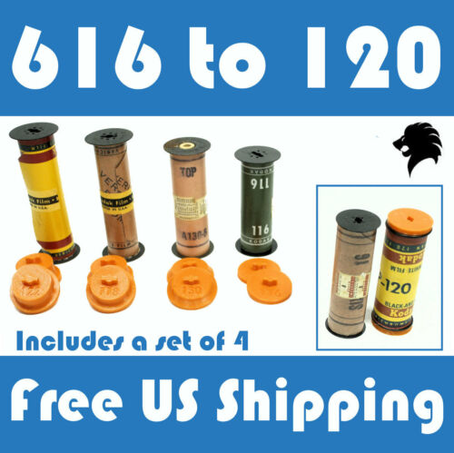 616 to 120 Film Spool Adapter Set/Kit (4pcs) For Antique Vintage Cameras FreeShp