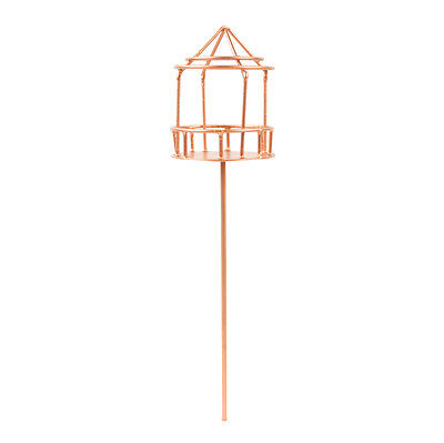 "Miniature Fairy Garden Dollhouse Copper Wire Bird Cage on Stand - 11"" x 2.5"""