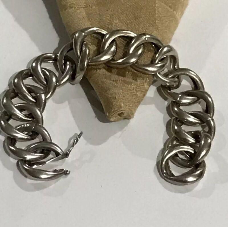"""Vintage Modernist Silky Sterling Silver 29 Grams 7"""" Long Bracelet"""