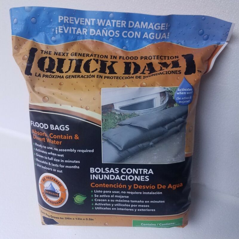 """QUICK DAM Self-Absorbing Flood Bags ~ Pack of (6) Bags ~ 24"""" x 12"""" x 3.5"""""""