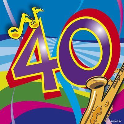 40. Geburtstag Party Servietten klein Tisch Deko Dekoration Musik Motiv Feier