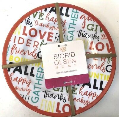 Sigrid Olsen Thanksgiving LOVE Fall 100% Melamine 8-1/2