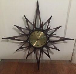 VTG Starburst Wall Clock Mid Century Sunburst Syroco Brown Gold Face Battery