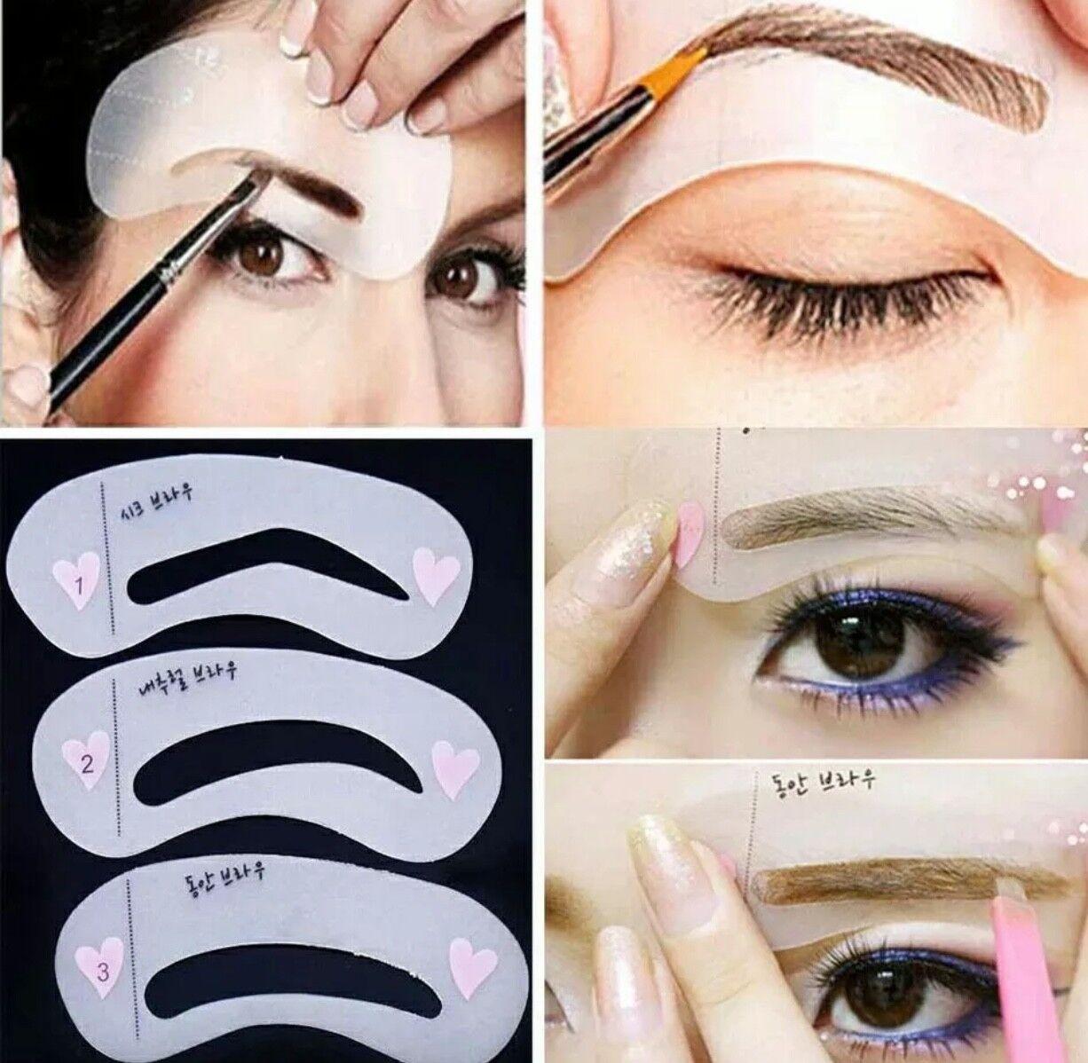 6 Eyebrow Stencils Shaper Grooming Kit Brow Makeup Template Tool