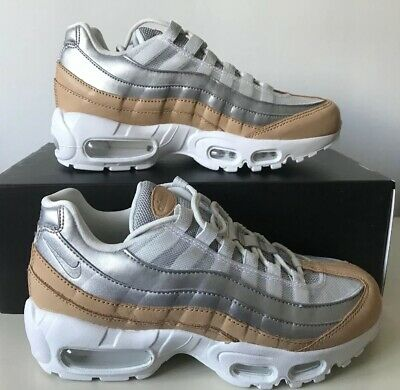 Nike Air Max 95 SE Premium UK Size 3.5 Womens Trainers White Silver