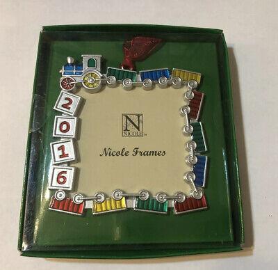 2016 Nicole Christmas Ornament Mini Photo Picture Frame Silver Square Toy Trains Christmas Mini Frame