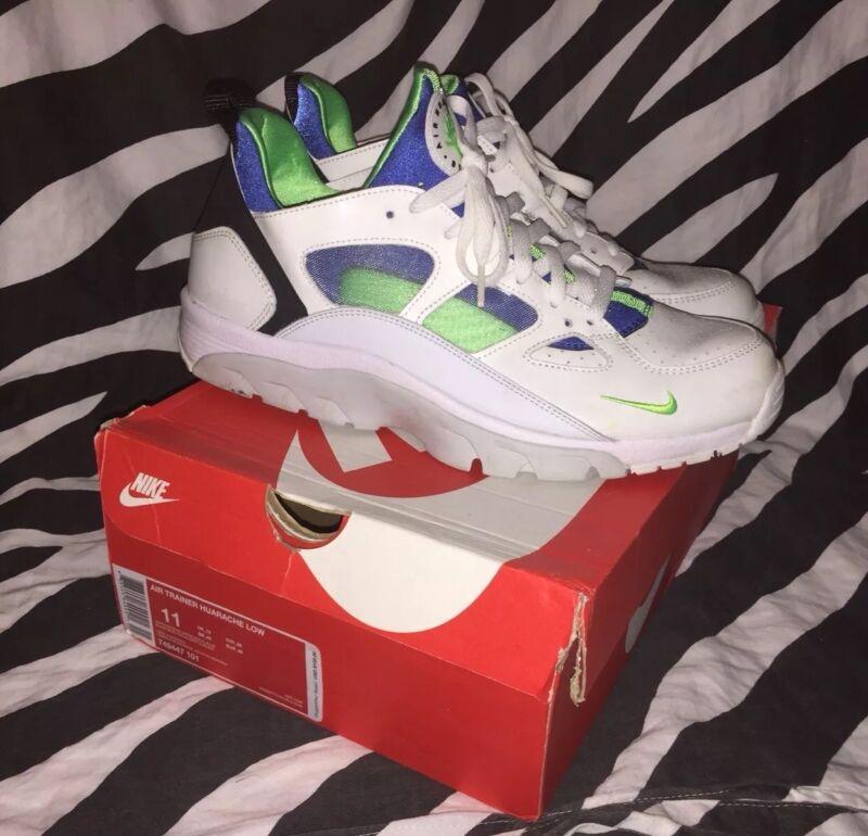 detailed look b017b e8aed Nike Air Trainer Huarache Low White Scream Green Royal Blue Size 11 Mens