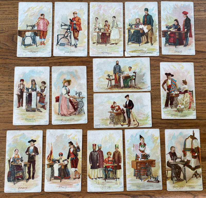 Lot of 15 Antique Singer Sewing Machine Trade Cards 1892 Foreign Country Clothes