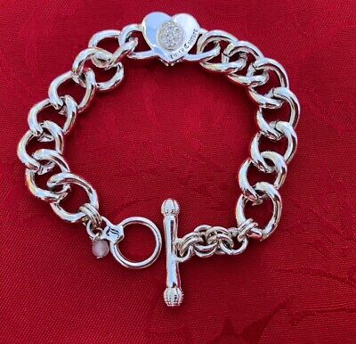 """VINTAGE JUICY COUTURE GIRLS HEART CHARM TOGGLE CHAIN BRACELET Silver TONE 8"""" Silver Heart Charm Toggle Bracelet"""