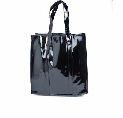 Macy's Twelve NYC Glossy Black Patent Faux Leather Tote Shopper Gift Bag Purse  - Glossy Black Leather Handbag