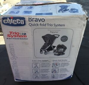 Chicco Bravo Trio Papyrus Travel System Keyfit 30 Car Seat New