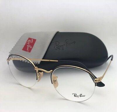 55abc4c49e RAY-BAN Rx-able Eyeglasses RB 3947V 2946 51-22 145 Round Semi Rimless Black  Gold