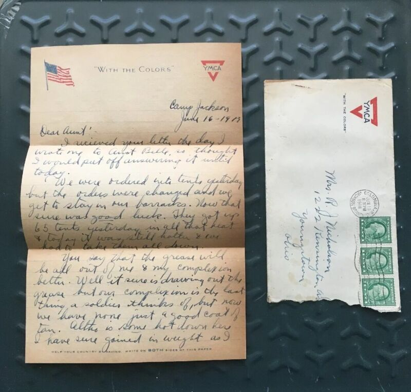 WWI Letter 1918 from soldier at Fort In YMCA Camp Jackson To Youngstown Ohio