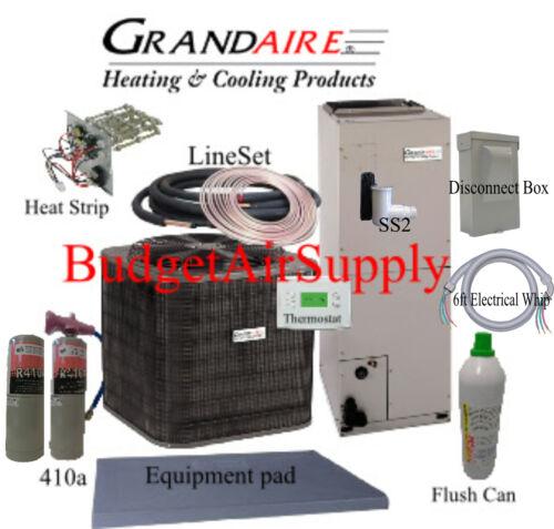 4 Ton 14 Seer Heat Pump Icp/carrier-grandaire  Flush Install Kit+50ft Lineset++