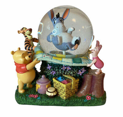 """Disney Winnie the Pooh Eeyore Picnic """"Rumbly In My Tumbly"""" Snow Globe Music Box"""