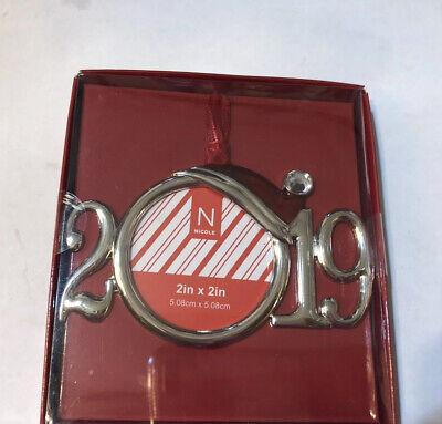 2019 Nicole Mini Picture Photo Frame Ornament. Christmas Santa Hat Round Silver Christmas Mini Frame