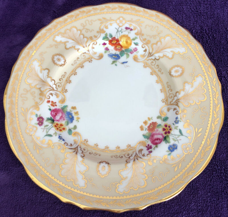 Vtg TIFFANY & CO Hand-painted & Gilt Porcelain Plates 1805 Cauldon Set of 12