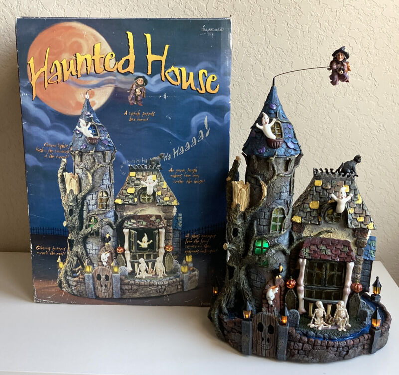 """Costco Haunted House Halloween Animated Sound Lights 19"""" Ghosts Skeletons Witch"""