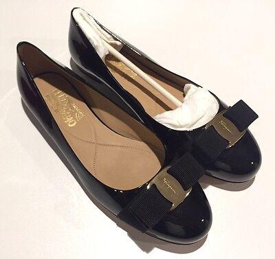 New $525 SALVATORE FERRAGAMO Varina Black Patent shoes Ballerina Flats 7.5 C