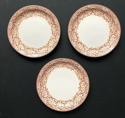 3 Vintage Brown Westhead Moore Potters To Her Majesty Coral PLATES *RARE Antique (Coral Plates)