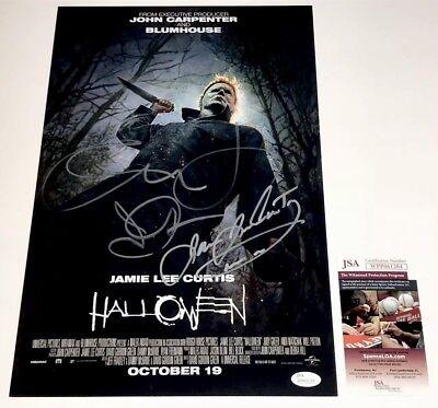 JAMIE LEE CURTIS & JOHN CARPENTER 2018 Signed X3 HALLOWEEN 11x17 Photo JSA COA