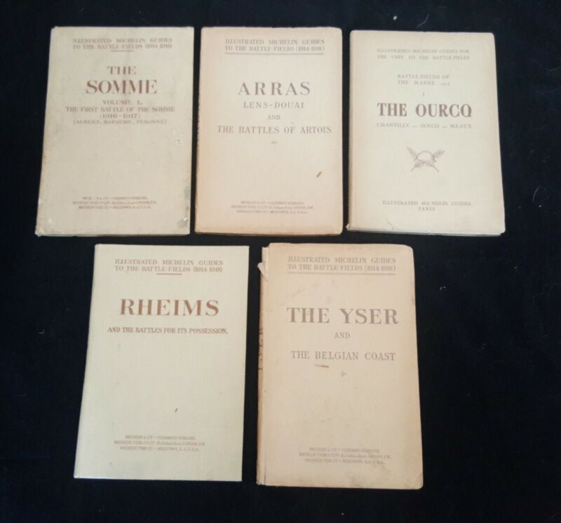 Lot of 5 Michelin Guide to the Battle Fields 1914-1918