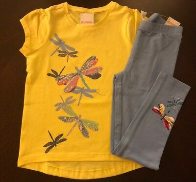 Nwt Gymboree Girl Wildflower Weekend Dragonfly Tee   Leggings Outfit 6 7 8 10