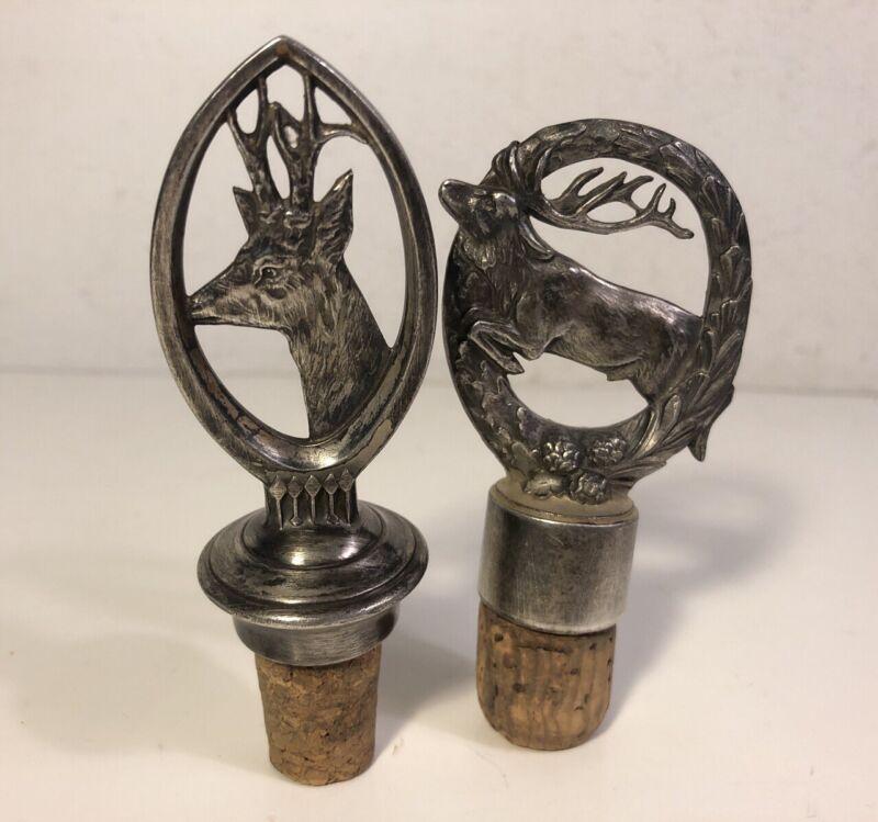 2 Vintage Art Nouveau Deer Stag Metal Wine Decanter Bottle Stopper W Cork
