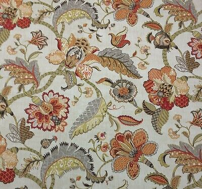 P KAUFMANN FINDERS KEEPERS SPICE ORANGE JACOBEAN FLORAL MULTIUSE FABRIC BY YARD for sale  Shipping to Canada