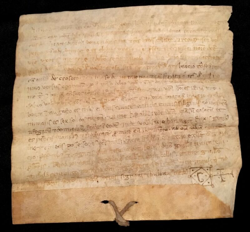 MEDIEVAL VELLUM CONTRACT 1245 OATS PURCHASE