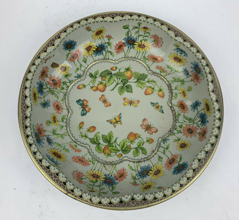 DAHER DECORATED WARE Vintage 1971 Round Tin Floral Butterfly Bowl Kitchenware