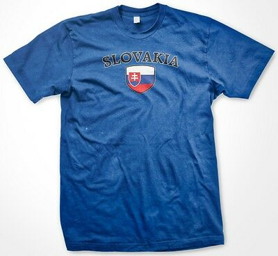 Slovakia Country Crest Flag Colors Nationality Ethnic Pride -Mens - Slovakia Flag T-shirt