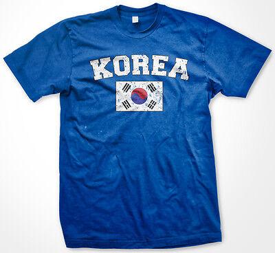 Korea Distressed Korean Pride Flag World Cup Soccer Olympics Mens (Korea Soccer Pride T-shirt)