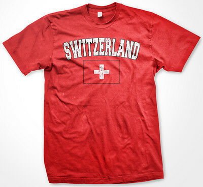 Switzerland Distressed Swiss Pride Flag World Cup Soccer Olympics Mens - Swiss Flag T-shirt